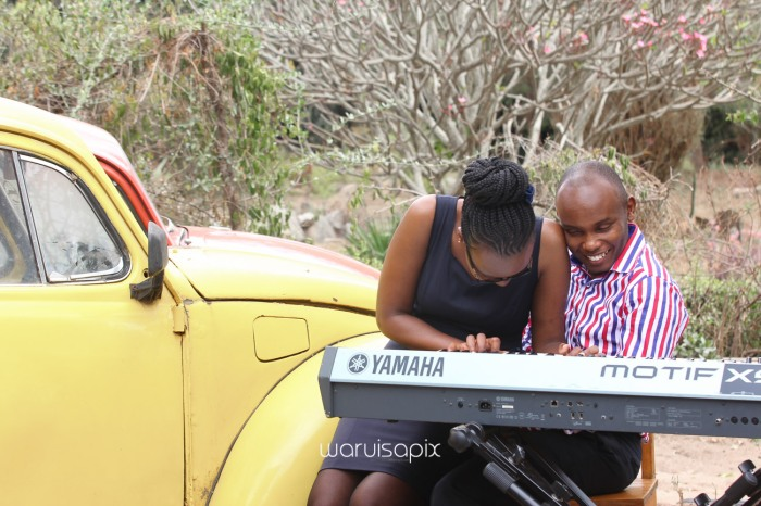 Kenyan destination wedding engagement session in a car yard in the wild by waruisapix-11
