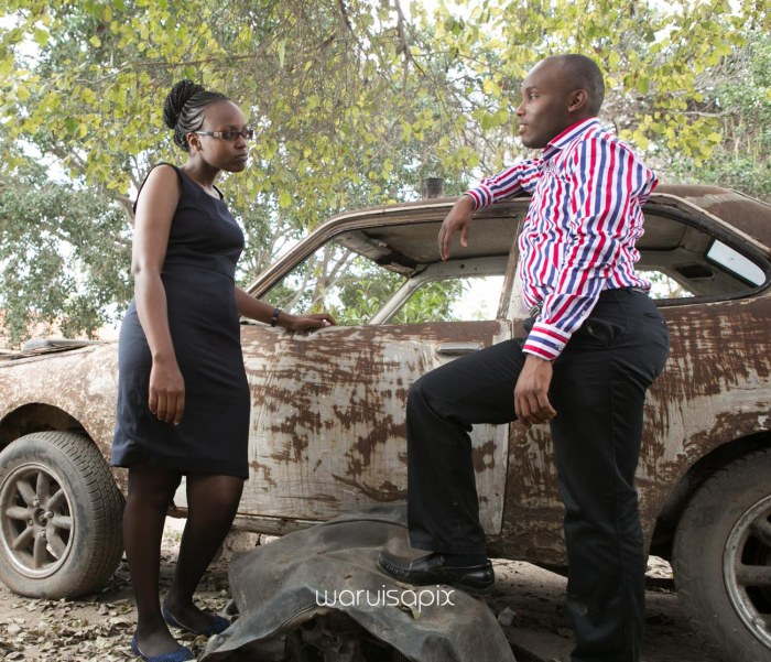 Kenyan destination wedding engagement session in a car yard in the wild by waruisapix-15