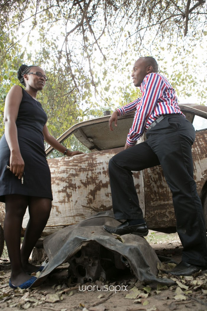 Kenyan destination wedding engagement session in a car yard in the wild by waruisapix-16
