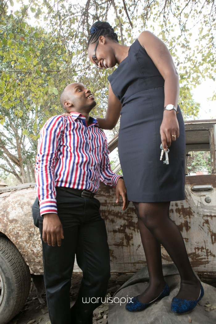 Kenyan destination wedding engagement session in a car yard in the wild by waruisapix-18