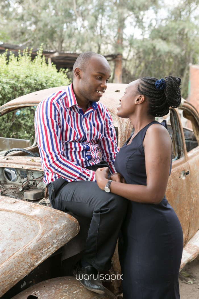 Kenyan destination wedding engagement session in a car yard in the wild by waruisapix-21