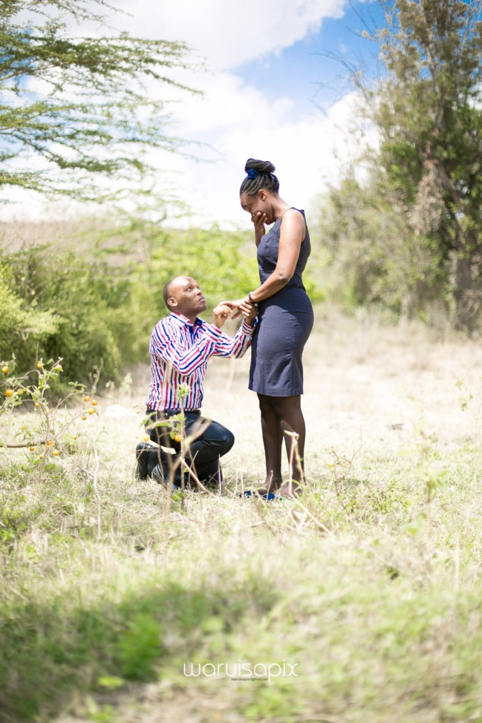 Kenyan destination wedding engagement session in a car yard in the wild by waruisapix-32