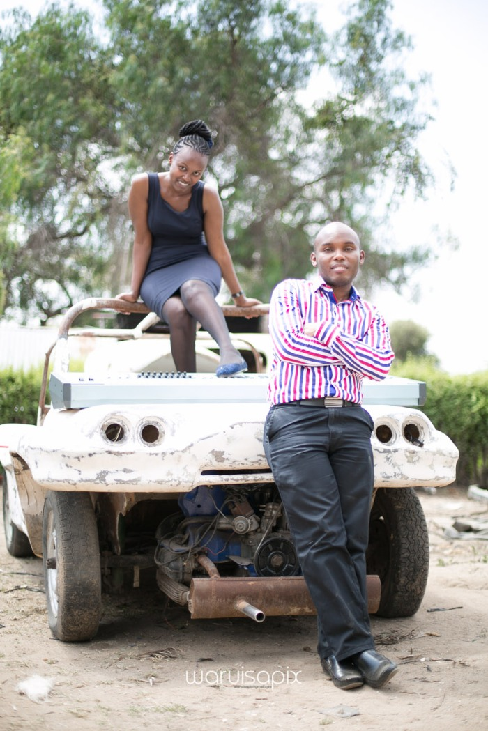 Kenyan destination wedding engagement session in a car yard in the wild by waruisapix-37