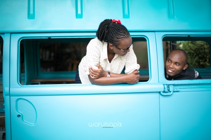 Kenyan destination wedding engagement session in a car yard in the wild by waruisapix-42