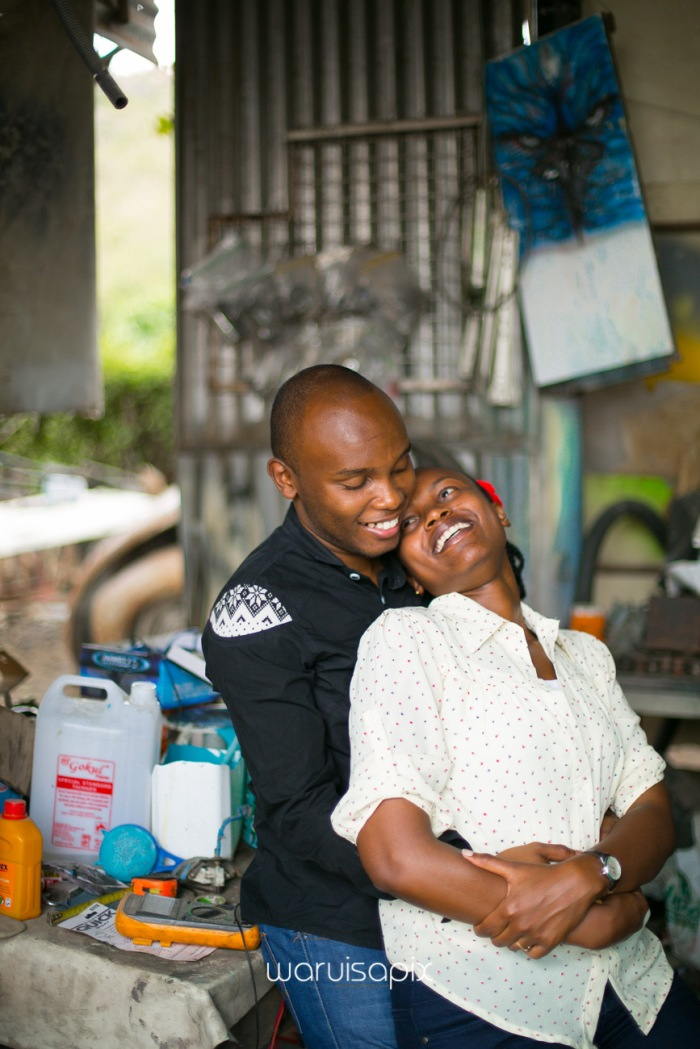 Kenyan destination wedding engagement session in a car yard in the wild by waruisapix-47