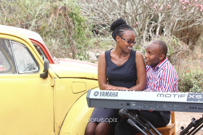 Kenyan destination wedding engagement session in a car yard in the wild by waruisapix-8