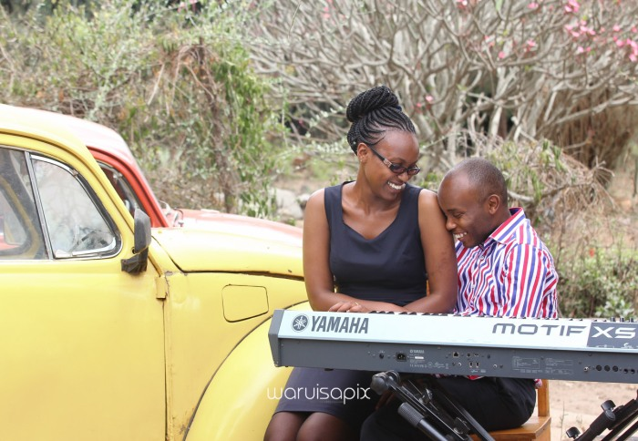 Kenyan destination wedding engagement session in a car yard in the wild by waruisapix-9